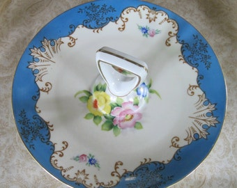 Vintage Plate with Handle, Candy Dish, Blue Border, Gold Trim