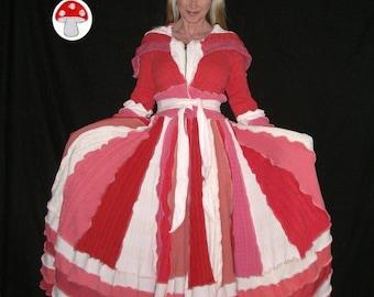 Marmalade Elf Coat Size Medium Peach Coral Salmon Pink White Fairy Priestess Dress Recycled Sweater Jacket Fresh Spring Taffy Pull Hoodie