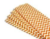 Eco friendly cloth orange chevron napkins for kids, 4 reusable small unpaper towels, wipes 2 ply flannel birds eye housewarming gift