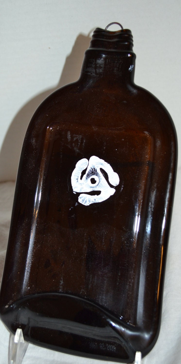 Brown glass rum bottle 45 LP Record Insert serving tray cheese platter