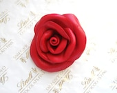 Red Flower Clip-Leather rose  Brooch-  Leather  accessories