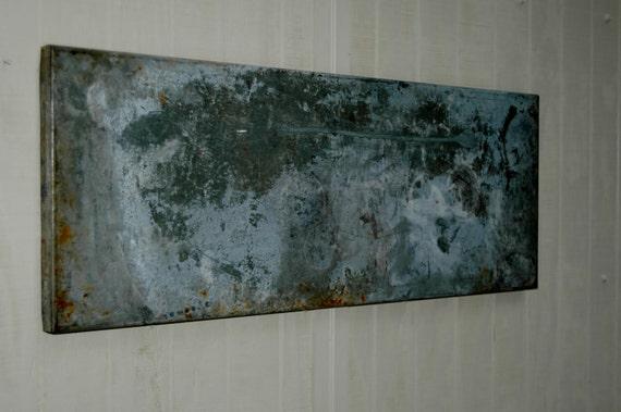 Vintage Industrial Galvanized Metal Magnetic Memo Board