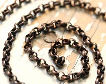 6ft Antique Patina Solid Copper Belcher Rolo Chain 4mm 4.5mm Oxidized Copper Round Links Cable
