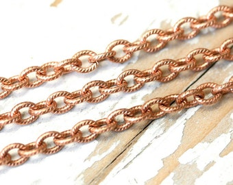 6ft Etched Oval 4mm x 5mm Pure Copper Cable Chain, Patterned Round Link Textured