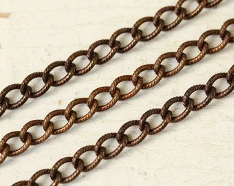 6ft Etched Curb Chain Solid Brass, 4mm x 6mm Patterned Textured Twisted Cable Chain, Hand Antiqued Medium Brass Chain