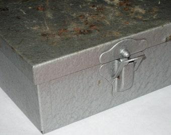 Vintage industrial distressed metal storage box
