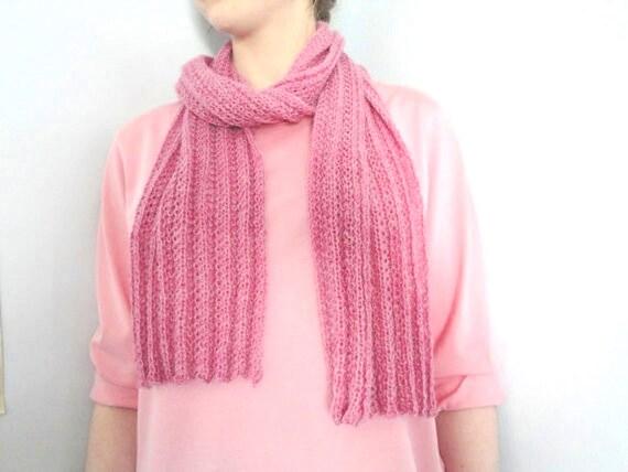Rose Pink Alpaca Scarf, Hand Knit, Women & Teens, Luxury Baby Alpaca, Long Winter