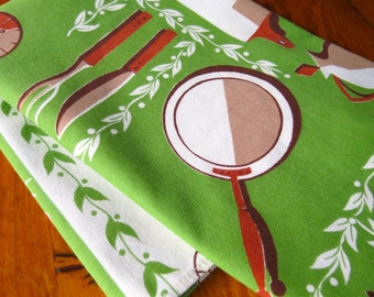Vintage Linen Dish Towel Bright Green Greenery Brown Kitchen Pots Pans Kitchen Unused