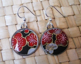 Item 26- Japanese paper origami washi chiyogami glass tile earrings by heavenlycranejewelry
