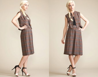 Vintage TWEED 50s 40s Vest Skirt PLAID Dress // 2 Piece Suit