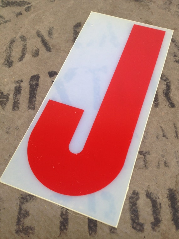 Red plastic letter j flexible letter red by avintageparcel for Small plastic letters for signs