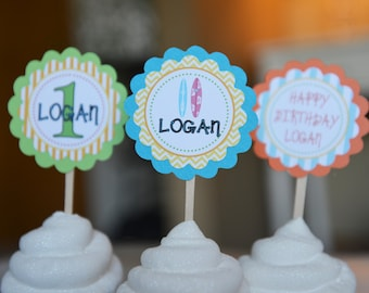 Surfboard/luau theme cupcake toppers-set of 12