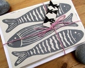SALE Hand Printed Seaside Grey Fish Six Pack Notecards - Lino/Block Print