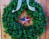 Patriotic Wreath-Front Door Wreath-Patriotic Home Decor-AMERICANA STAR Boxwood Door Wreath-July 4 Americana Patriotic Military Wreath Decor