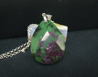 Ruby zoisite Faceted teardrop Pendant