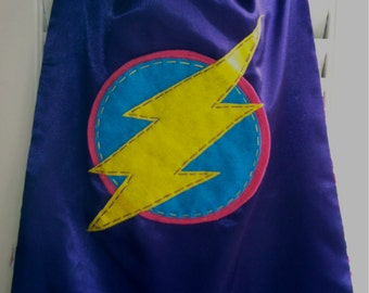 PERSONALIZED PURPLE Girls Superhero Cape - Choose the Initial - Reversible - Superhero Party