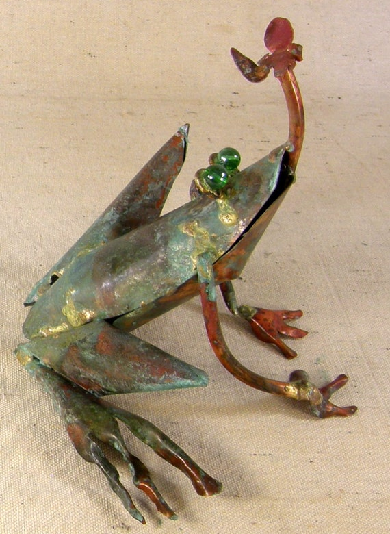 Items similar to Copper Garden Frog Catching a Bug - Small ...