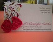 Red Crochet Heart Earrings