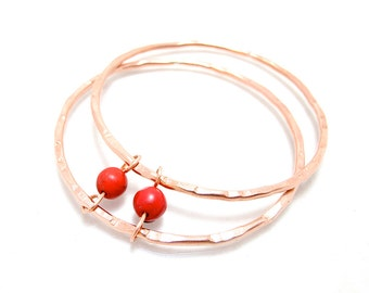 Copper Red Bead Bangle - Red Turquoise Bracelet - Hammered Copper Bangle Set - SET of 2 bangles - Red Copper - Rustic Style Jewelry