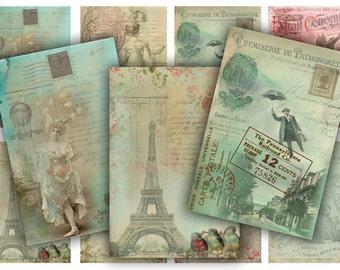 Digital Images - Digital Collage Sheet Download - French Nostalgia Tags -  603  - Digital Paper - Instant Download Printables