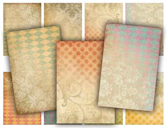 Digital Collage Sheet Download - Shabby Background Tags -  389  - Digital Paper - Instant Download Printables