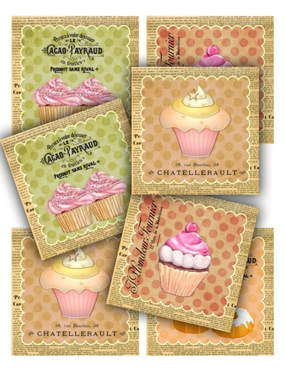 French desserts Cupcakes Polka Dot Tags Digital Collage Sheet 381 - Instant Download Printables
