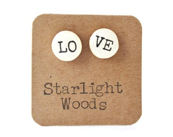 Love studs. Love Stud earrings.  wife gift Cute Post Earrings. Wood earrings. Valentines Day Gift  eco friendly unique gift for her