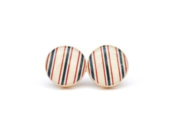 Nautical striped Stud Earrings. Patriotic striped post earrings minimalist jewelry gift for her nature gift eco-friendly