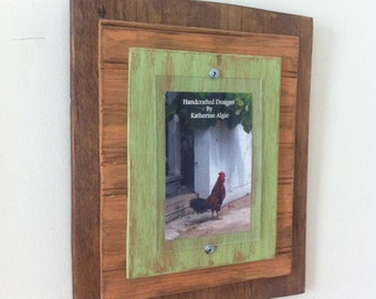 5 x 7 Distressed Handmade Picture Frame - Natural Wood, Peach & Green