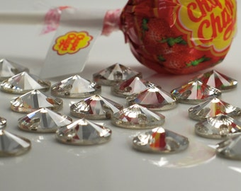 12mm Round Clear Crystal, , 24pcs, sew on stone embellishment  flatback