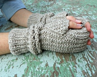 Knitting fingerless gloves oatmeal, women accessories winter fall fashion, long gloves