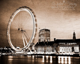Architecture London Photo The London Eye at night, signed print, London Ferris Wheel London Landmark Ferris Wheel wall decor Fine Art Photo