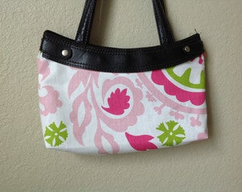 Lime, pink and white  skirt purse cover thirty one handmade
