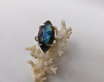 Large, Blue Flash, Semi-Precious Gemstone Labradorite, & Sterling Silver Ring
