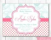 Pink & Aqua Shabby Chic Baby Shower Invitation. DIY Printable Baby Shower or Bridal Shower Invitation