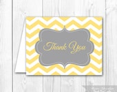 Printable Thank You Card - Yellow & Gray Chevron Thank You Note. Coordintating Invitation Available.