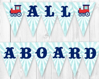 Vintage Train Party Banner. All Aboard Train Party Banner. DIY Printable Pennant Banner