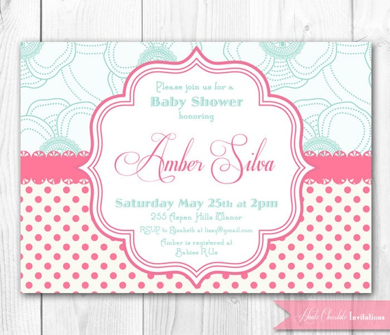 Items Similar To Pink Amp Aqua Shabby Chic Baby Shower