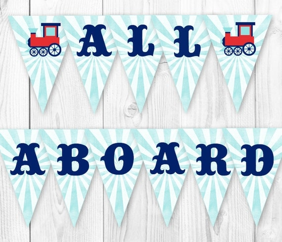 items similar to vintage train party banner  all aboard train party banner  diy printable