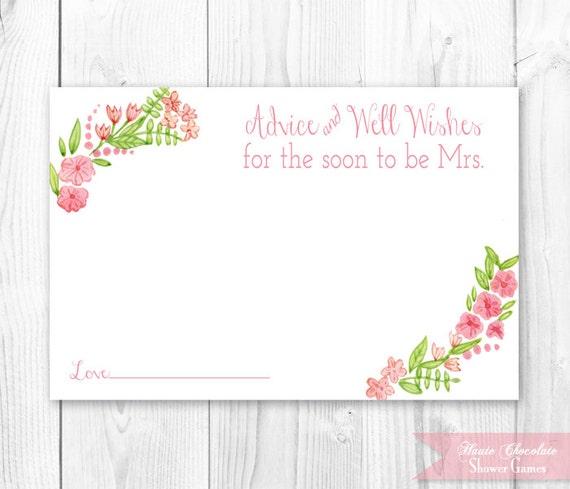 Items Similar To Vintage Floral Bridal Advice Card Floral