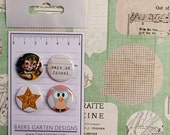 Badges / Adhesive buttons Days of School / Vintage / Kindergarden / Gold Star / Owl