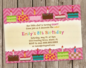 Cake Decorating Birthday Party Invitation Digital Printable or Printed, any wording any color any age
