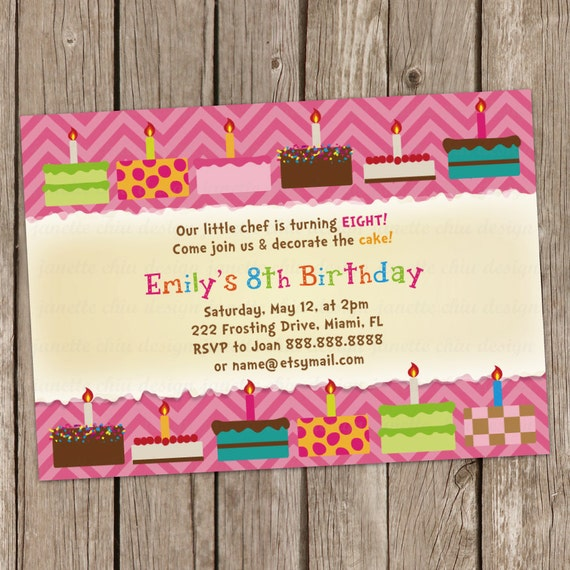 Cake Decorating Birthday Party Invitations : Cake Decorating Birthday Party Invitation Digital Printable or