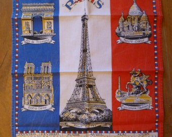 Vintage Tea Towel French - Eiffel Tower 1990 calander Paris Landmarks Shipping Worldwide