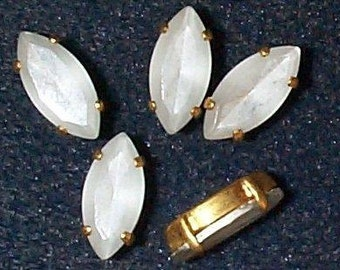 Vintage Silver-Backed Crystal Marquise Stones