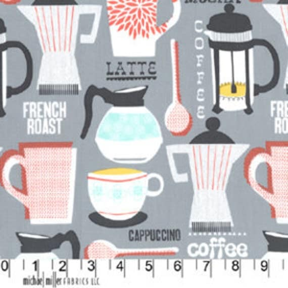 Michael Miller Fabric - French Roast in Grey -  LAST 0.9 Yards
