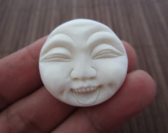 LOWER PRICE  Hand carved  Funny Face, Carved bone cabochon, bovine bone carving, Jewelry making Supplies S2618