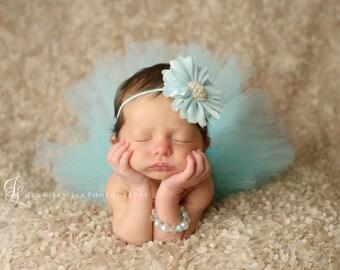 Tutu and Headband Set - Aqua Flower Headband -  Luxe Tutu and Headband - Newborn Tutu - Girls Infant Baby Child Toddler Tutu