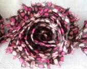 1 Yard - Shabby Frayed Flowers - Tr i- Hearts - Valentines