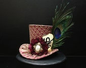 Mad Hatter Burgundy and Gold Mini Top Hat with Peacock Feather for Wedding. Bachelorette Party, Bridal Shower, Tea Party or Photo Prop